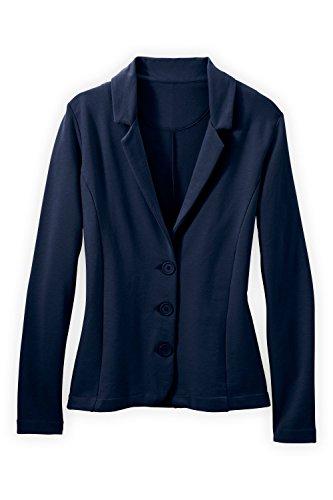 Fair Indigo Fair Trade Organic Knit Blazer (M, Midnight Navy) Cotton Spandex Blazer