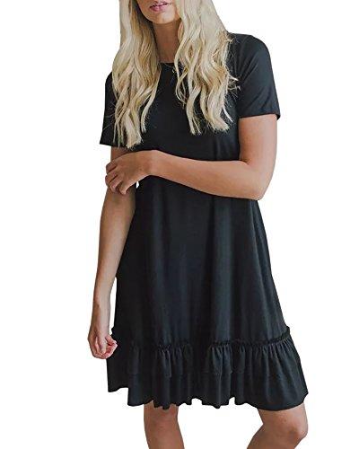 Ofenbuy Womens Summer Casual Dresses Short Sleeve Ruffle Hem Loose Midi Dress with Pockets