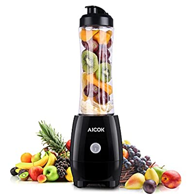 Aicok Personal Blender Single Serve Smoothie Maker with Take-Along Bottle and Travel Lid ,600ML, Black