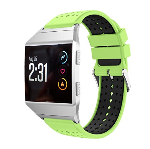For Fitbit Ionic Band,Lightweight Silicone Bicolor Diamond Hole Replacement Wristband Smart Watch Sport Strap With Metal Connector,Esharing (Green) (Bi Retro Watch)