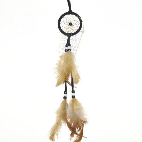 Miniature Earthtone Black Dreamcatcher, Beads & Feathers, 8-inch ()