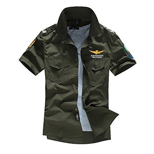 カジュアルシャツ メンズ ゴルフウエア 半袖 シャツ Tシャツ ストリート ワッペン アーミー エンブレム 襟付き 普段着 ポケット 夏 重ね着 アウトドア