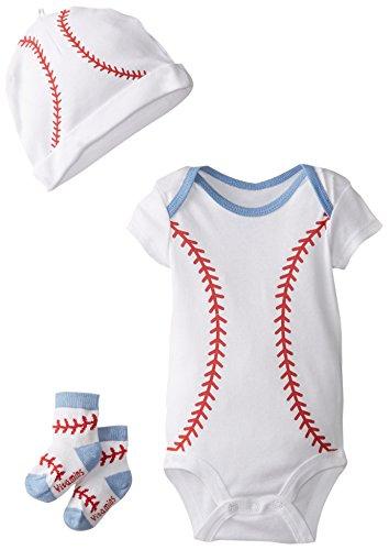 Vitamins Baby Baby-Boys Newborn Baseball 3 Piece Creeper Set, White, New Born