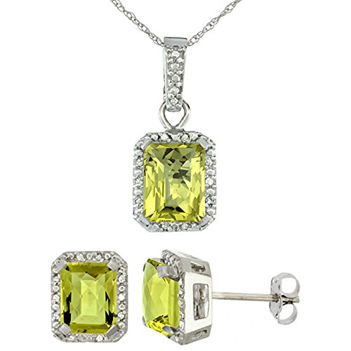 Or blanc 9 Ct naturel octogone 8 x 6 mm Boucles d'oreilles Quartz Citron & Pendentif Accents de diamant