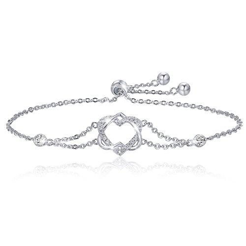 BAMOER 925 Sterling Silver Double Heart Bracelet Adjustable Chain Bracelets for Women Girls for Her ()