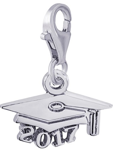 Rembrandt Charms, 2017 Graduation Cap with Clasp, .925 Sterling Silver