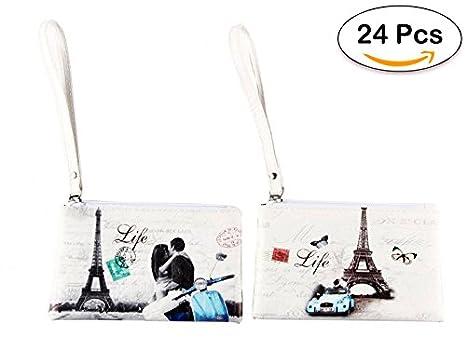 Lote de 24 Portatodo Retro Paris - Detalles Originales Baratos Bodas - Porta todo, carteras