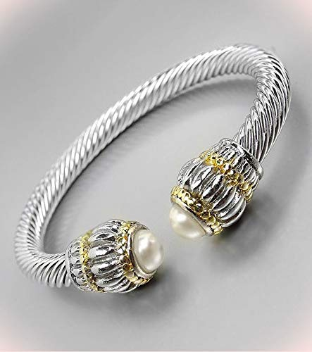Classic Balinese Scalloped Texture Pearl End Tips Silver Bracelet Cable Cuff Bracelets For Women