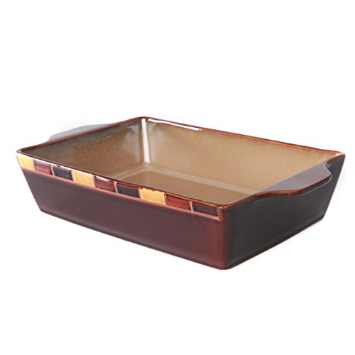WHITEPEONY Bricks Orange Stoneware Rectangular Baker, 9-Inch x 13-Inch by WHITEPEONY