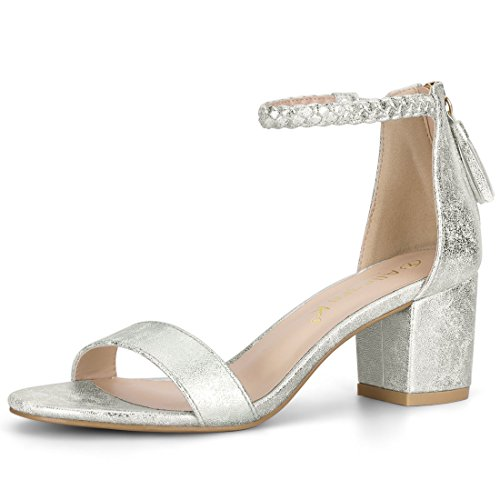 - Allegra K Women's Braided Ankle Strap Tassel Silver Sandals - 7.5 M US