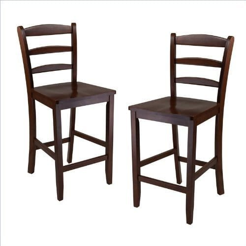 Luxury Home Set of 2, 24'' Counter Ladder Back Stool