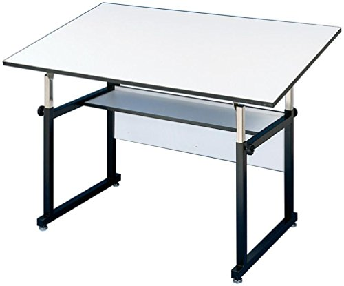 Alvin WM60-3-XB WorkMaster Table, Black Base/White Top 37 1/2'' x 60''; Angle adjusts from horizontal 0° to 40°; Height adjusts from 29'' to 46'' in horizontal position by Alvin