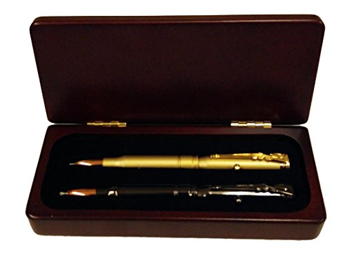 Gunmetal & Satin Gold Rifle Bullet Pen in Satin Rosewood Gift Box (Rosewood Bolt)
