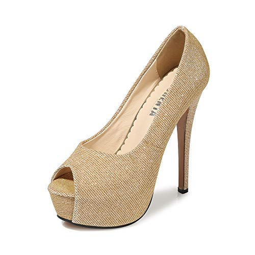 - OCHENTA Women's Peep Toe Platform High Heel Dress Pumps Glitter Gold Tag 38 - US B(M) 7