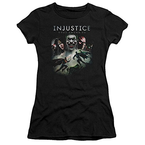 (Trevco Injustice Gods Among Us Key Art Juniors' Sheer Fitted T Shirt, X-Large Black)