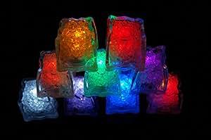 12 Pack of Colorful Changing LED Liquid sensor lights-- Ice Cubes Shape, So Amazing