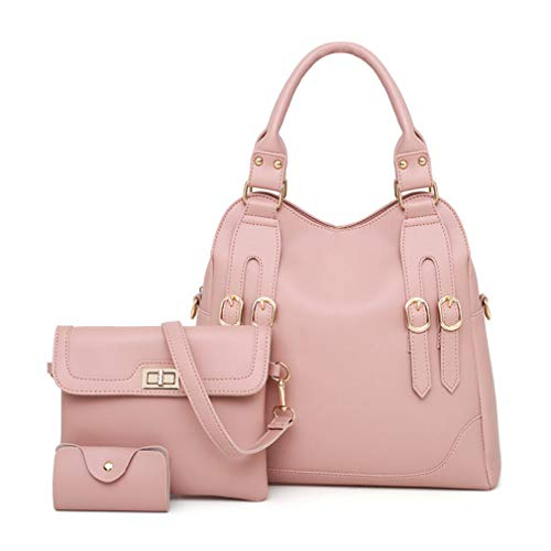 Handbag Leather Composite W33H31D13 Shoulder Totes Black Pink 3 Bags cm fxIwdx7