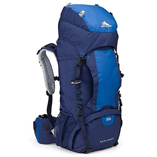 High Sierra Explorer 55L Internal Frame Backpack, Top Load 55 Liter Hiking Backpack, True Navy/Royal/True Navy (Backpacked)