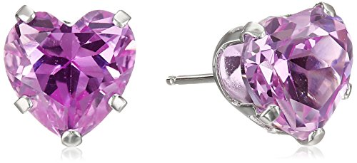 14k White Gold and Created Pink Sapphire Heart Stud Earrings (14k Pink Sapphire Stud Earrings)