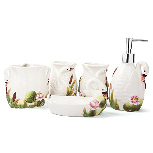 FORLONG FL3003 Ceramic Bathroom Accessories Set 5 (Swan Motherly Love):2 Gargle Cups,1 Toothbrush Holders,1 Soap Dishes,1 Soap Dispenser
