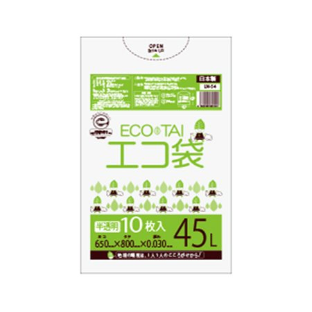 サンキョウプラテック エコ袋 45L 0.030厚 半透明 10枚入×60冊 LN-44 B077SNJL2T 厚さ0.030mm|半透明 半透明 厚さ0.030mm