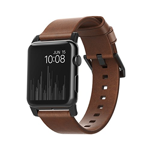 Nomad Horween Leather Strap for Apple Watch - 42mm Modern Build - Classic Bold Design - Custom Stainless Steel Lugs and Buckle - Black Hardware