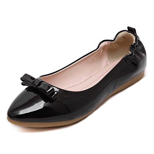 Womens Pointed Leather Soft Toe Shoes Tie Bowknot Closed Bow Black Gtlindsl with On Flats Pull HIwZqx