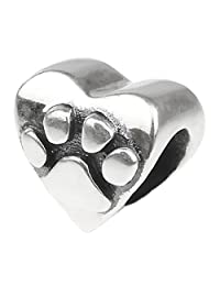 Beads Hunter 925 Sterling Silver Charms Raised Heart Shape Puppy Dog Bear Paw Charms Fit European Bracelet Snake Chain