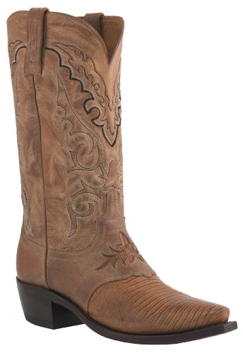 Lucchese Mens Since 1883 Western Boots Old Nugget Lizard Saddle/Peanut Brittle Mad Dog Goat (10.5 (Western Peanut Brittle)