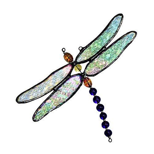J Devlin ORN 112 Stained Glass Dragonfly Ornament Window Sun Catcher
