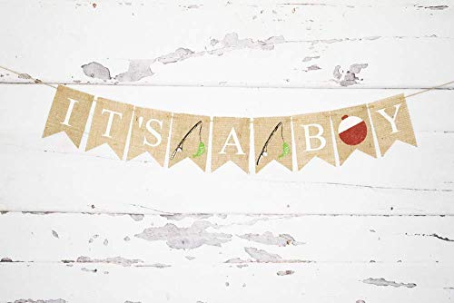 It's A Boy Fishing Banner | Baby Shower or Gender Reveal Party Decorations ()