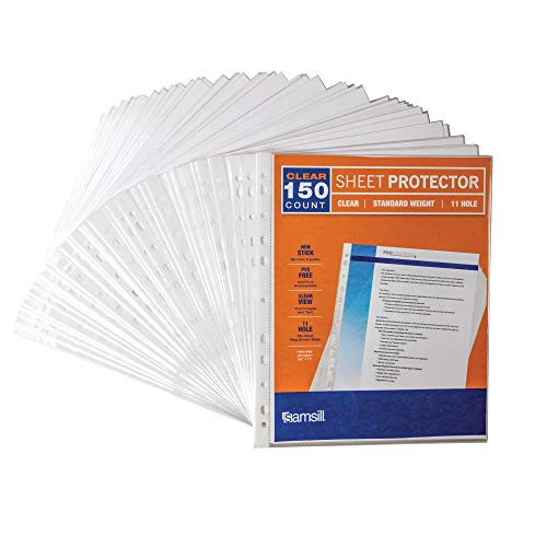 Samsill Standard Weight 11 Hole Clear Sheet Protectors/Acid Free Archival Safe/Polypropylene Sheet/Top Loading Sheet Protectors 8.5 x 11 inches/Box of 150 Page Protectors Bulk/Clear