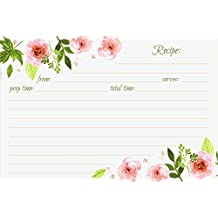Jot & Mark Recipe Cards Floral Double Sided 4x6 50 Count (Pink Peonies)
