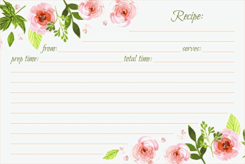 Card Designs Recipe (Jot & Mark Recipe Cards Floral Double Sided 4x6 50 Count (Pink Peonies))