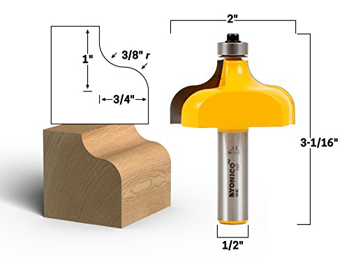 Yonico 13150 3/8-Inch Radius Ogee Edge Forming Router Bit 1/2-Inch Shank Edge Forming Router Bit