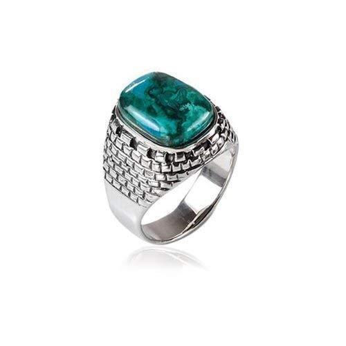 (Sterling Silver Western Wall Blue Green Eilat Stone Ring )