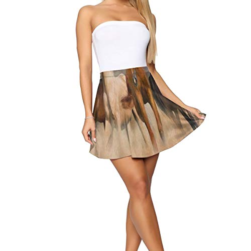 Girl Dress,Horse Herd Desert Sand Storm Unique Mini Skirt for Outdoor -