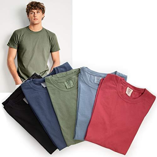 Comfort Colors (5 Pack) T Shirts for Men Garment Dyed T Shirts 100% Cotton Soft Gildan T Shirt Unisex ()