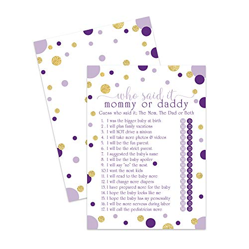 Purple and Gold Baby Shower Games Guess Who (Set of 25 Cards) Mommy or Daddy Trivia - Cute Stars and Dots