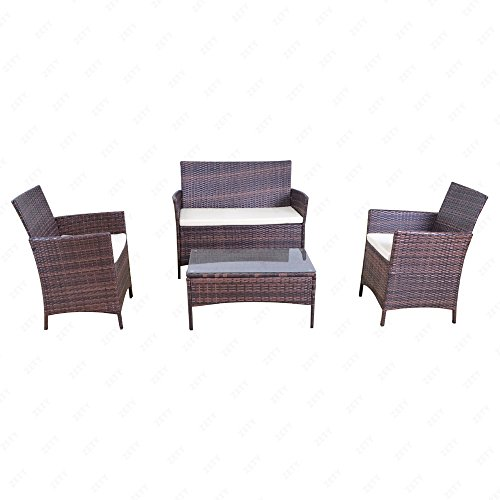 Uenjoy 4PC Outdoor Rattan Wicker Patio Furniture Set Cushioned Sofa & Table Garden Lawn Brown
