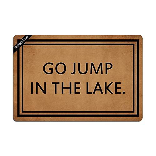 Ruiyida Go Jump in The Lake Entrance Floor Mat Funny Doormat Door Mat Decorative Indoor Outdoor Doormat Non-Woven 23.6 15.7 Inch Machine Washable Fabric Top (Lake Go The In Jump)