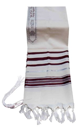 Talitnia Virgin Wool Tallit Prayer Shawl Maroon and Silver Stripes in Size 42