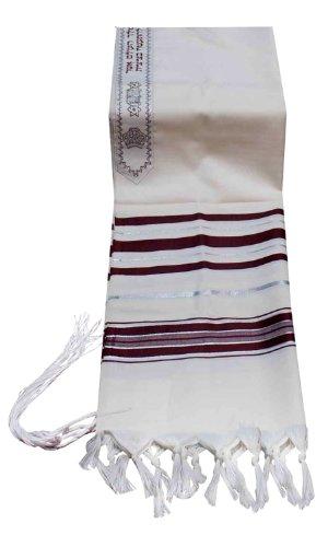 Talitnia Virgin Wool Tallit Prayer Shawl Maroon and Silver Stripes in Size 42