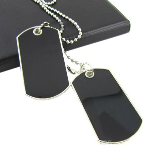 Army Tactical Style Black 2 Dog Tags Chain Beauty Mens Pendant Necklace for Men Jewelry by Unbranded