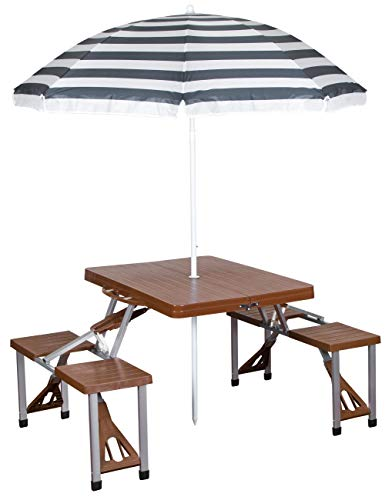 Stansport Picnic Table and Umbrella Combo, Brown Woodgrain