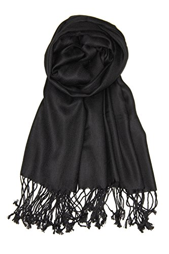 Achillea Large Soft Silky Pashmina Shawl Wrap Scarf in Solid Colors (Black)