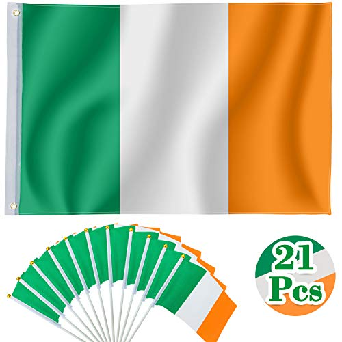 Whaline Ireland Flag Set, 3x5 Foot Irish National Flags, 20 Pieces Hand Held Small Ireland Flag Irish Stick Flags for St. Patrick's Day Irish Theme Party Parades Decorations and Sports Events]()