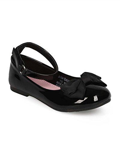 Alrisco Girl Patent Round Toe Ankle Strap Bow Ballet Flat  E