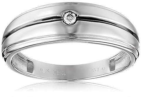 10k White Gold Diamond Wedding Band, Size 9 - Sterling Silver Diamond Antique Ring