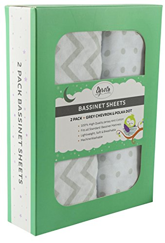 Bassinet Sheet Set 2 Pack 100% Jersey Cotton for Baby Girl by (Oval Bassinet Sheets)